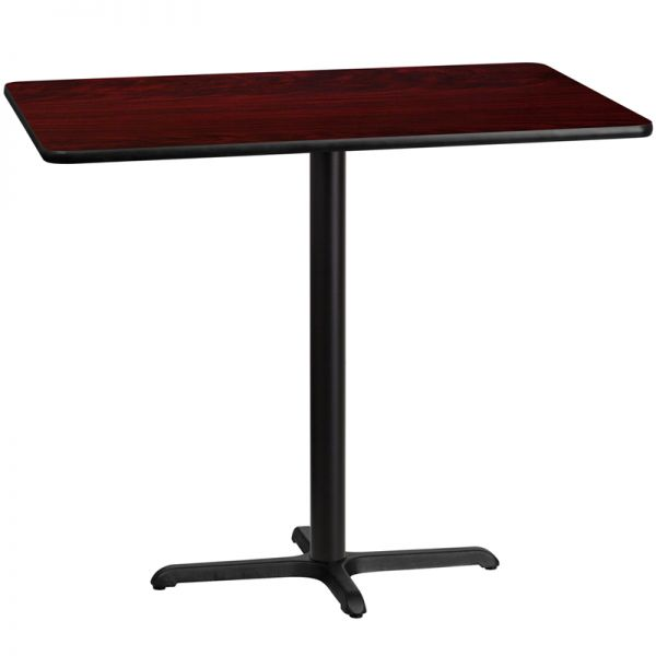 Flash Furniture 30'' x 48'' Rectangular Mahogany Laminate Table Top with 22'' x 30'' Bar Height Table Base