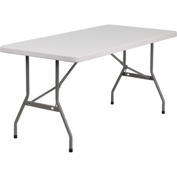 Flash Furniture 30''W x 60''L Granite White Plastic Folding Table