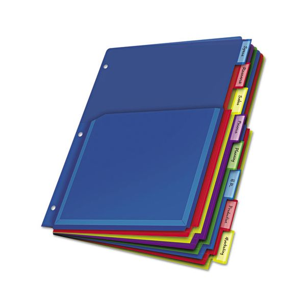 Cardinal Poly Expanding Pocket Index Dividers, 8-Tab, Multi-color Tab, Letter, 1 Set