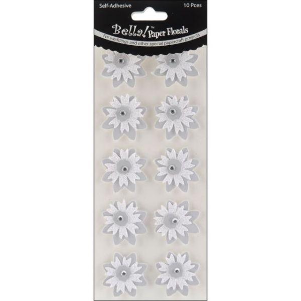Bella! Wedding Glittered Self-Adhesive Paper Florals 10/Pkg