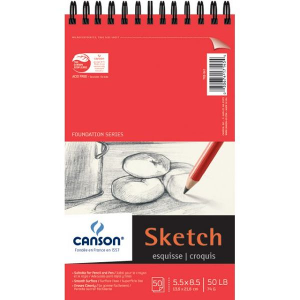 "Canson Foundation Series Spiral Sketch Paper Pad 5.5""X8.5"""