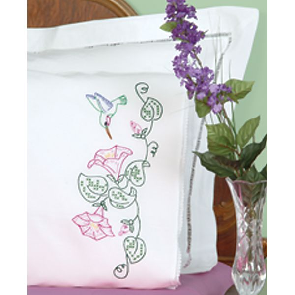 Stamped Pillowcases W/White Lace Edge 2/Pkg