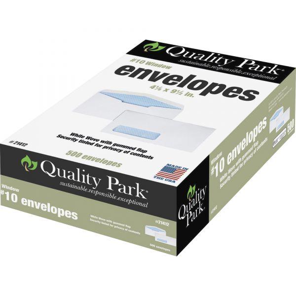 Quality Park Window Envelope, Address Window, #10, 4 1/8 x 9 1/2, White, 500/Box