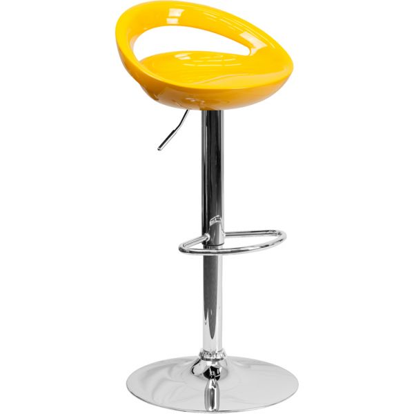 Flash Furniture Contemporary Yellow Plastic Adjustable Height Barstool with Chrome Base