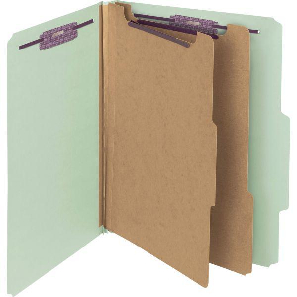 Smead 2-Divider Pressboard Classification Folder with SafeSHIELD Fasteners