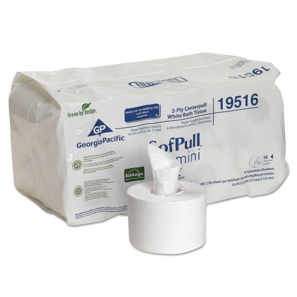 Georgia Pacific Professional SofPull Mini Centerpull Bath Tissue, 5 1/4 x 8 2/5, 500 Sheets, 16 Rolls/Carton