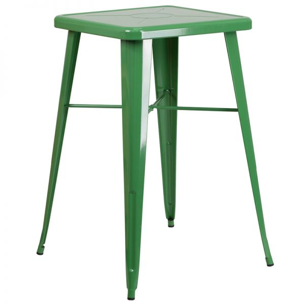 Flash Furniture 23.75'' Square Green Metal Indoor-Outdoor Bar Height Table