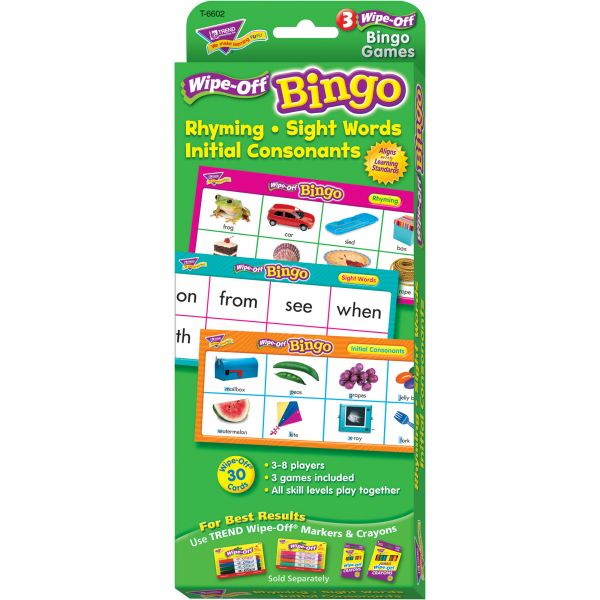 Trend Wipe-Off Rhyming Sight Words Bingo Game