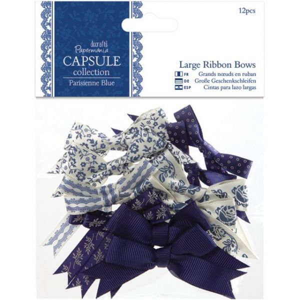 Papermania Parisienne Blue Large Ribbon Bows 12/Pkg