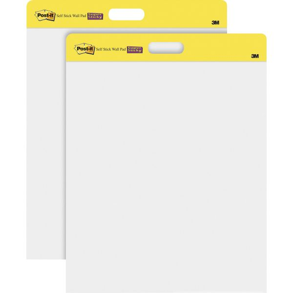 Post-it Easel Pads Self Stick Wall Easel Unruled Pad, 20 x 23, White, 20 Sheets, 4 Pads/Carton