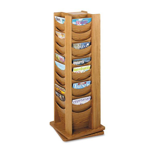 Safco 48-Pocket Solid Wood Rotating Display Rack