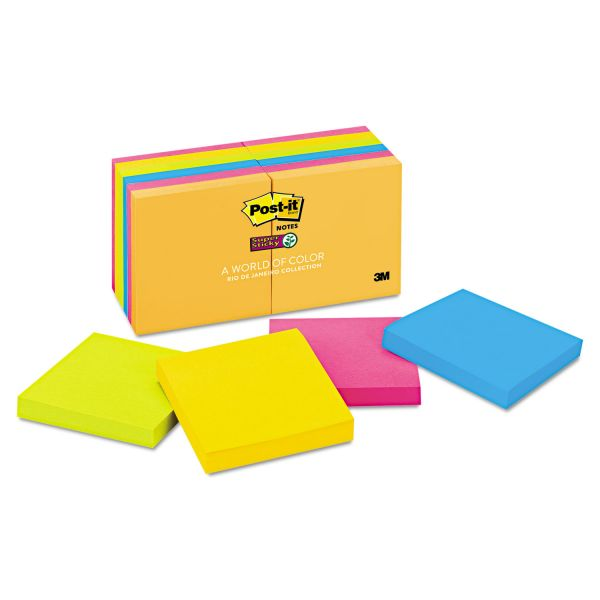 Post-it Notes Super Sticky Pads in Rio de Janeiro Colors, 3 x 3, 90-Sheet, 12/Pack