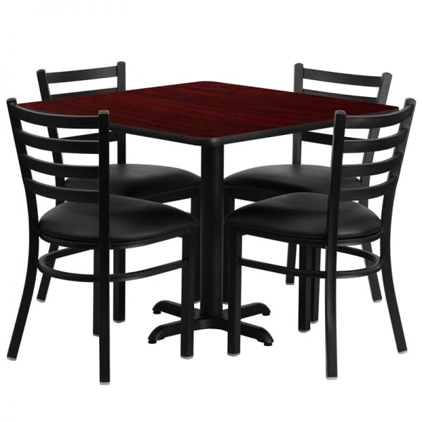 Flash Furniture 36'' Square Mahogany Laminate Table Set with 4 Ladder Back Metal Chairs - Black Vinyl Seat [HDBF1014-GG]