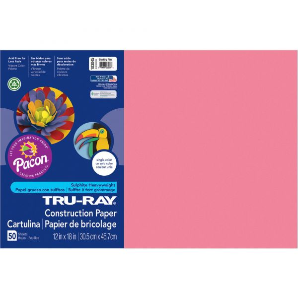 Tru-Ray Sulphite Pink Construction Paper