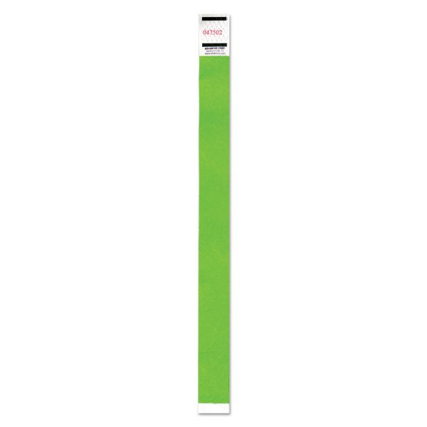 Advantus Crowd Management Wristband, Sequential Numbers, 9 3/4 x 3/4, Neon Green, 500/PK
