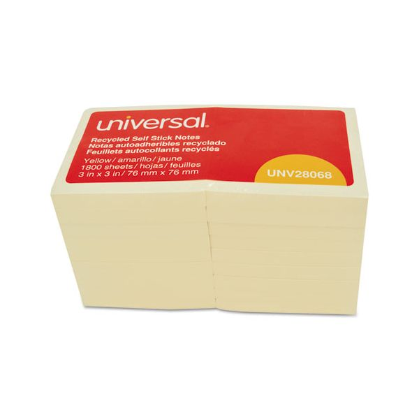 Universal Recycled Self-Stick Note Pads, 3 x 3, Yellow; 100-Sheet, 18/Pack