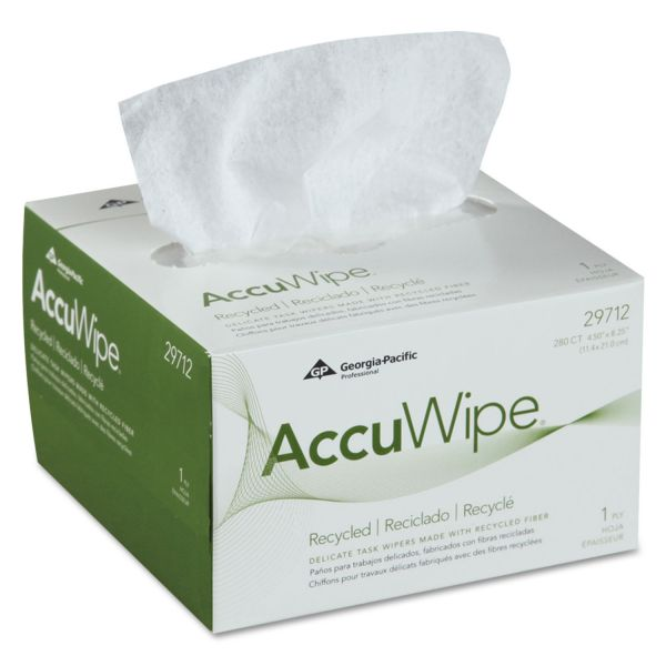 Georgia Pacific Professional AccuWipe Recycled One-Ply Delicate Task Wipers, 4 1/2 x 8 1/4, White, 280/Box