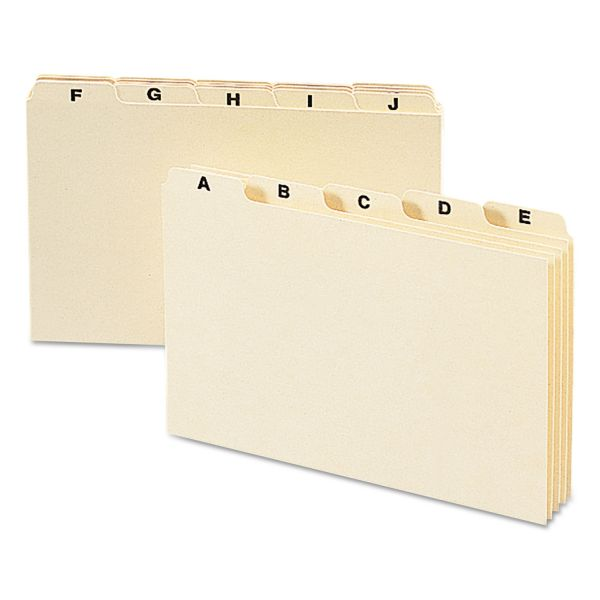 Smead Self-Tab Card Guides, Alpha, 1/5 Tab, Manila, 5 x 8, 25 per Set
