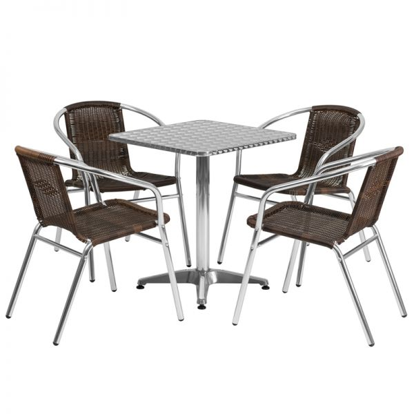 Flash Furniture 23.5'' Square Aluminum Indoor-Outdoor Table with 4 Dark Brown Rattan Chairs