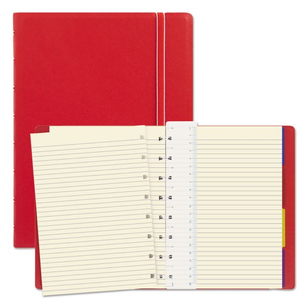 Filofax Notebook, College Rule, Red Cover, 8 1/4 x 5 13/16, 112 Sheets/Pad