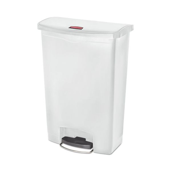 Rubbermaid Commercial Slim Jim Resin Step-On Container, Front Step Style, 24 gal, White