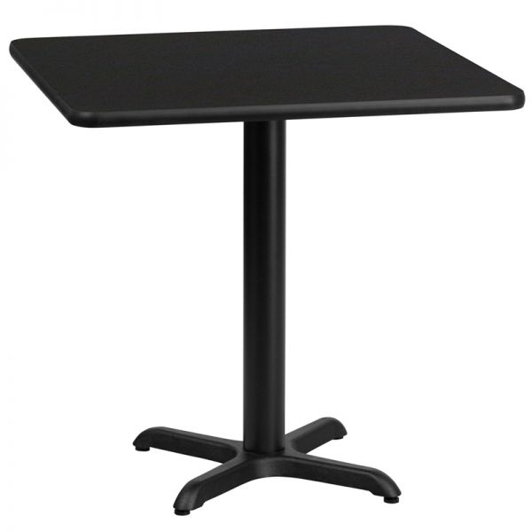 Flash Furniture 30'' Square Black Laminate Table Top with 22'' x 22'' Table Height Base