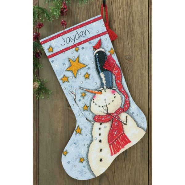 Tall Hat Snowman Stocking Counted Cross Stitch Kit