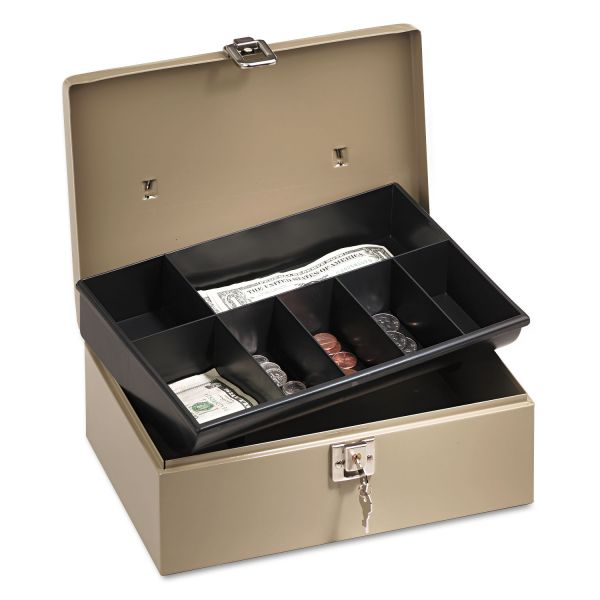 PM Company SecurIT Lock'n Latch Steel Cash Box w/7 Compartments, Key Lock, Pebble Beige