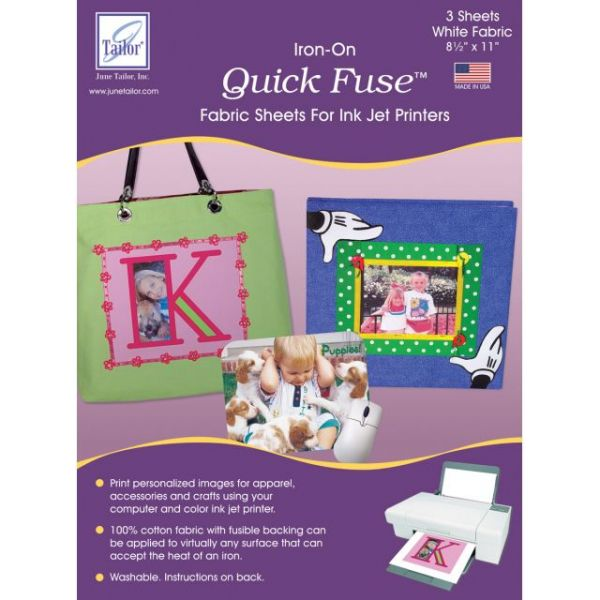 """Quick Fuse Iron-On Ink Jet Fabric Sheets 8.5""""X11"""" 3/Pkg"""
