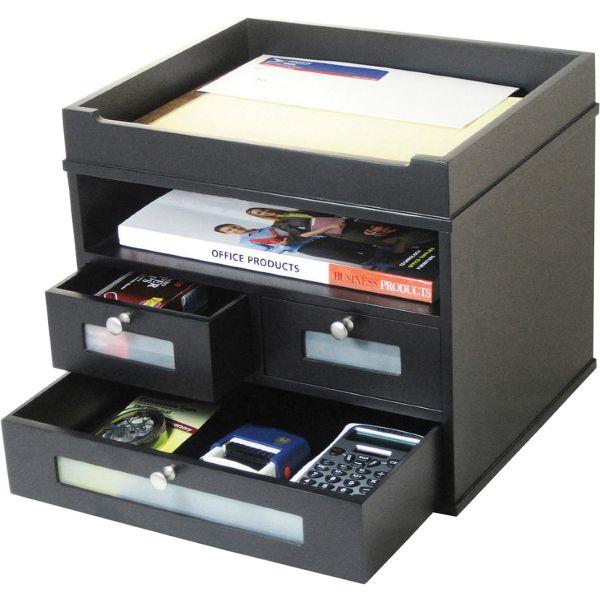 Victor Midnight Black Collection Tidy Tower Desktop Organizer