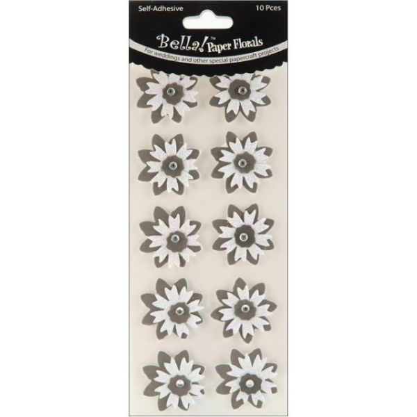 Bella! Wedding Glittered Self-Adhesive Paper Florals 10/Pkg