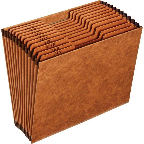 Pendaflex Heavy-Duty Expanding Open Top File, 12 Pockets, 1/3 Tab, Letter, Brown