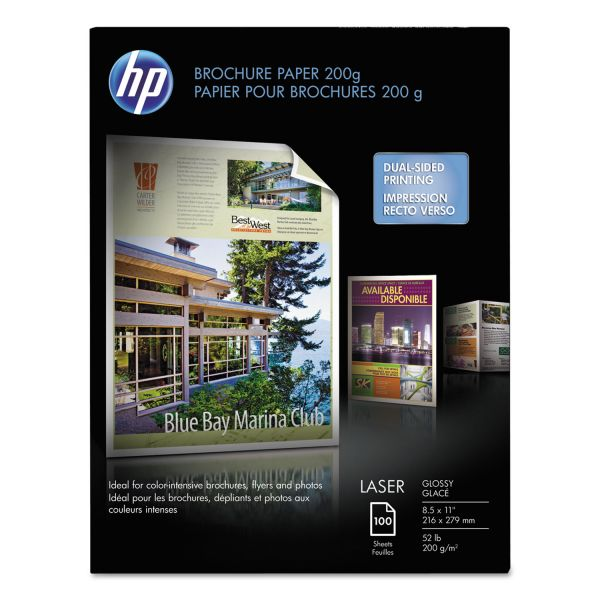 HP Laser Brochure Paper, Glossy, 52 lb, 8-1/2 x 11, 100 Sheets/Pack