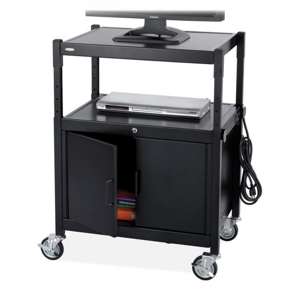 Safco AV Adjustable Cart With Locking Cabinet, 26-3/4w x 20-1/2d x 26 to 42h, Black