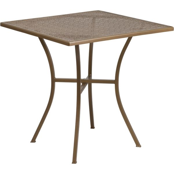 Flash Furniture 28'' Square Gold Indoor-Outdoor Steel Patio Table