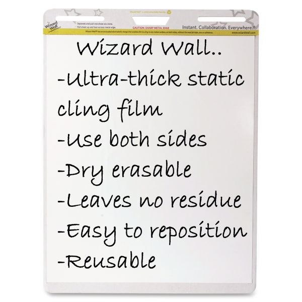 Wizard Wall Dry Erase Static-Cling Film Easel Pads
