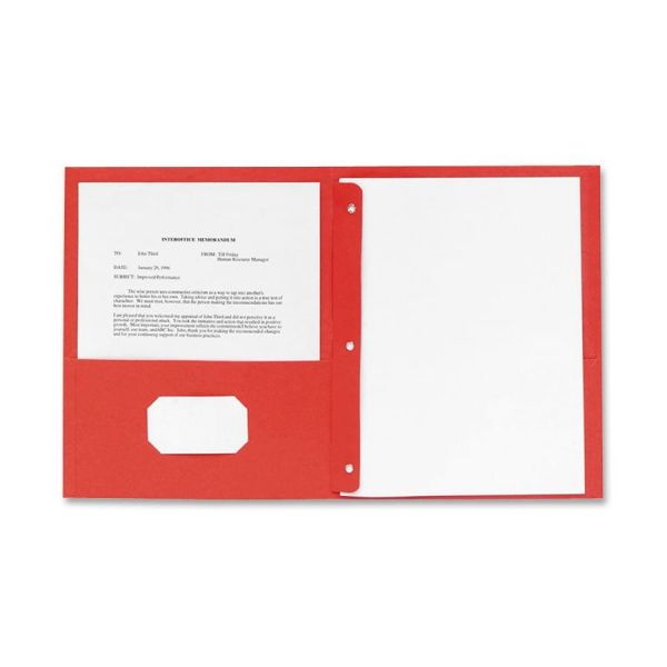 Sparco Red Two Pocket Folders with Fasteners