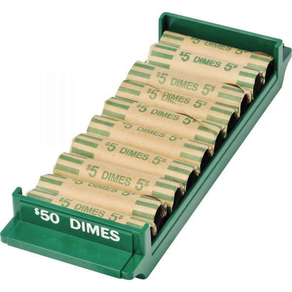 MMF Industries Porta-Count System Rolled Coin Plastic Storage Tray, Green