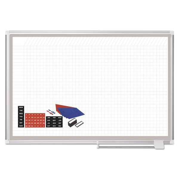 MasterVision All Purpose Magnetic Planning Board, 1 x 1 Grid, 48 x 36, Aluminum Frame