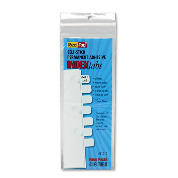 Redi-Tag Side-Mount Self-Stick Plastic Index Tabs, 1 inch, White, 416/Pack