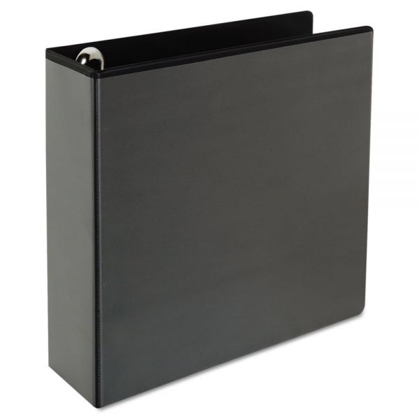 """Universal Deluxe Easy-to-Open 3-Ring View Binder, 3"""" Capacity, Round Ring, Black"""