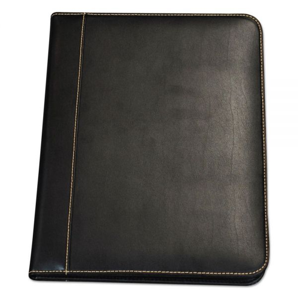 Samsill Contrast Stitch Leather Padfolio, 8 1/2 x 11, Leather, Black