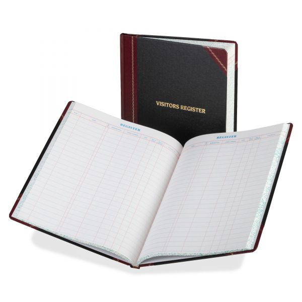 Boorum & Pease Visitor Register Book, Black/Red Hardcover, 150 Pages, 10 7/8 x 14 1/8