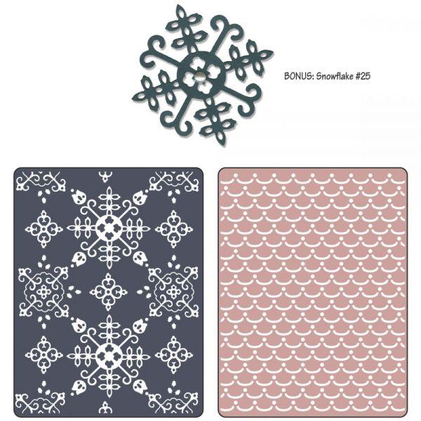 Sizzix Textured Impressions A2 Embossing Folder W/Bonus 3/Pk
