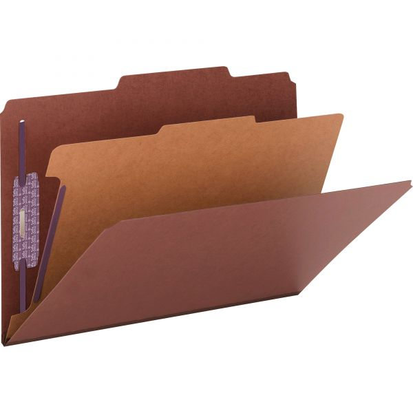 Smead Pressboard Classification Folders, Self Tab, Legal, Four-Section, Red, 10/Box