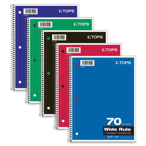 TOPS 1-Subject Wide Ruled Spiral Notebook