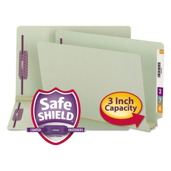 Smead Three Inch Expansion Folder, Two Fasteners, End Tab, Legal, Gray Green, 25/Box