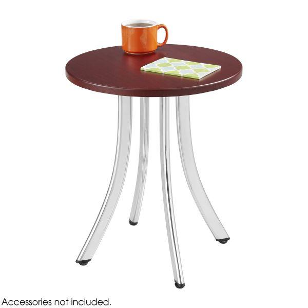 "Safco Decori Wood Side Table, Round, 15-3/4"" Dia., 18-1/2"" High, Mahogany/Silver"