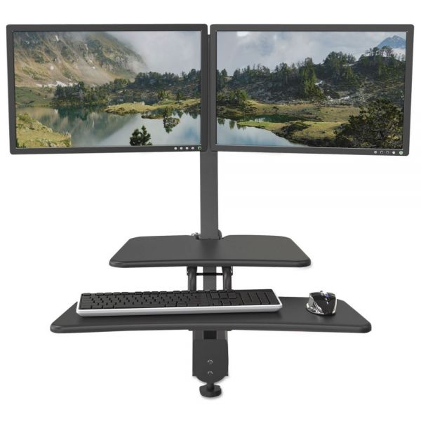 BALT Up-Rite Desk Mounted Sit-Stand Workstation, Double, 27 1/8 x 30 x 42, Dark Gray