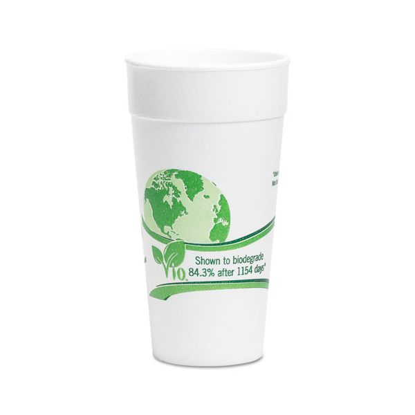 WinCup Vio Biodegradable Cups, Foam, 20 oz, White/Green, 500/Carton
